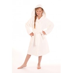 dětský župan Athena bílý s kapucí