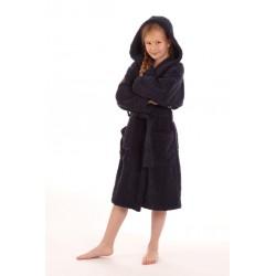 dětský župan Athena tmavě modrý s kapucí